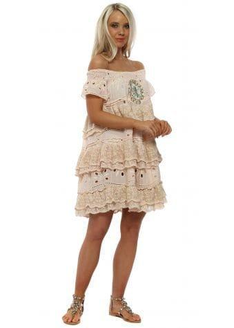 Pink Bardot Layered Lace Crystal Beach Dress