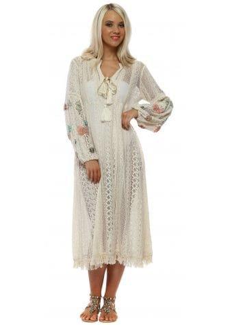 Beige Cotton Beaded Butterfly Beach Dress