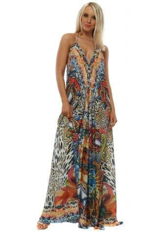 Jewel Art Print Multicoloured Maxi Dress