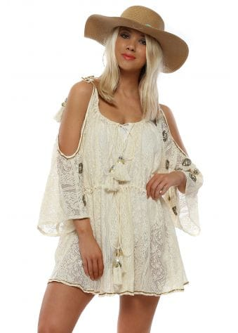 Beige Cold Shoulder Beaded Boho Beach Dress