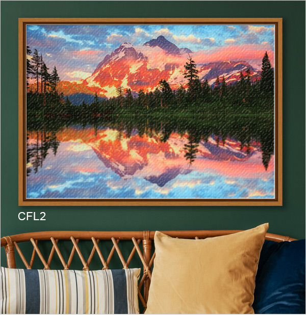 Stunning landscape photo printed on canvas and finished in Pecan Wood Canvas Floater Frame CFL2.