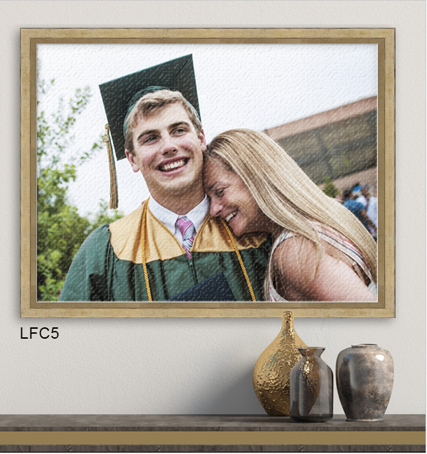 Photo of a mother with her graduating son printed on canvas and framed in gold Luxe Canvas Floater LFC5.