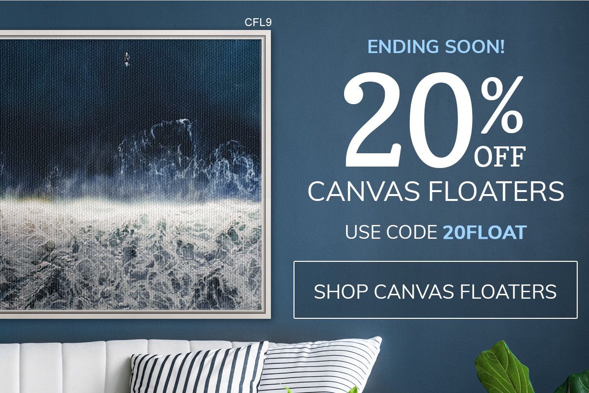 20% Off Canvas Floater Frames Ends Soon! Use Code 20FLOAT.