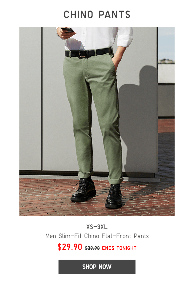 BODY54 - MEN SLIM-FIT CHINO FLAT-FRONT PANTS