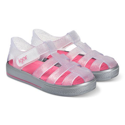 Igor Transparent and Pink Star Jelly Sandals