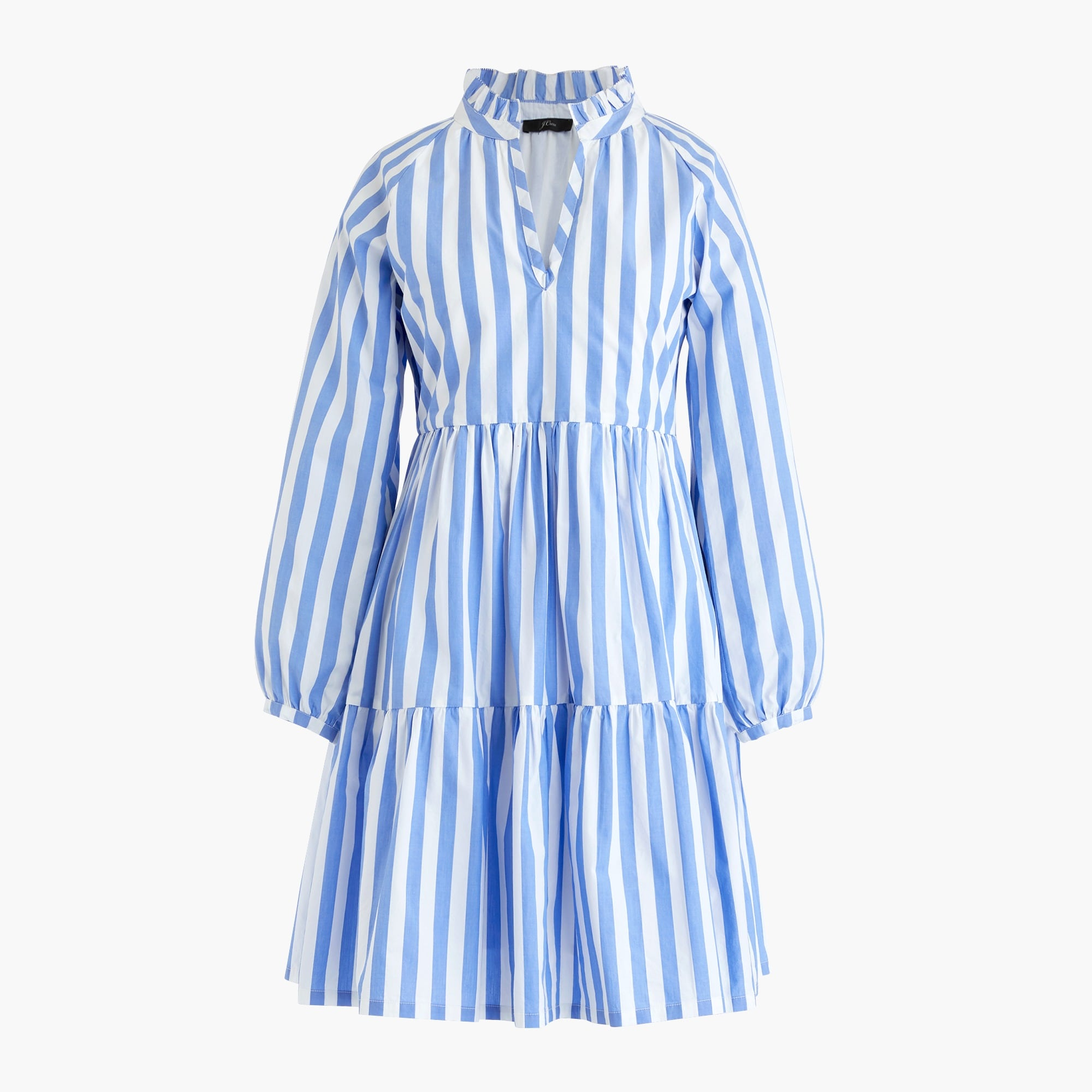 Classic Tiered popover dress in striped cotton poplin