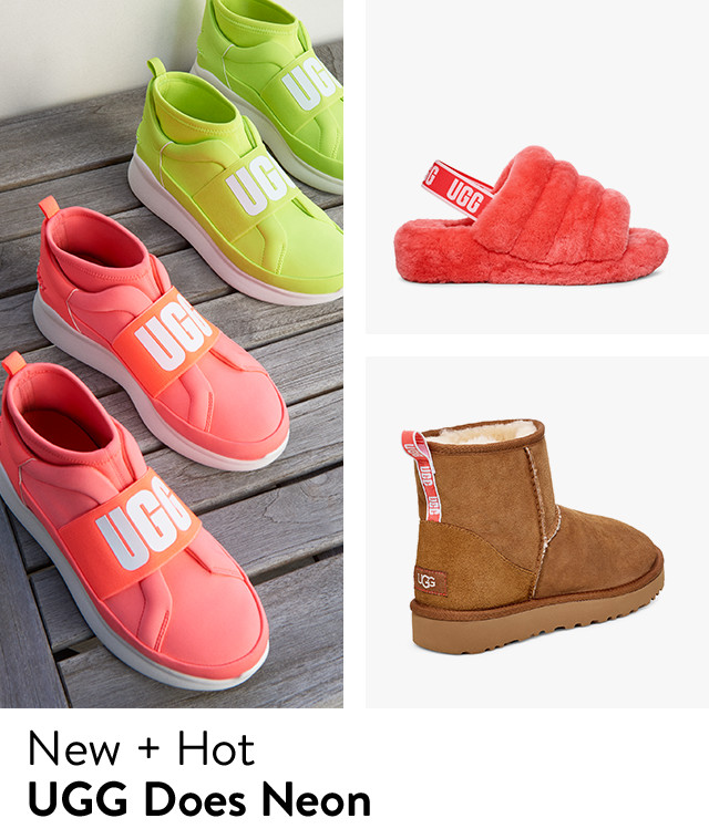 Neon UGG shoes.
