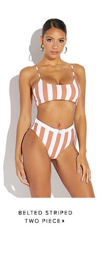 BELTED STRIPED TWO PIECE