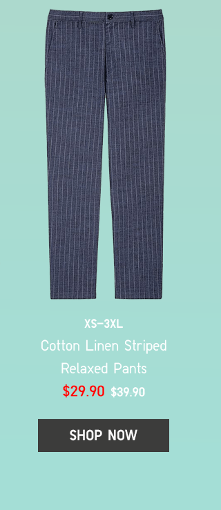 BODY12 - MEN COTTON LINEN STRIPED RELAXED PANTS