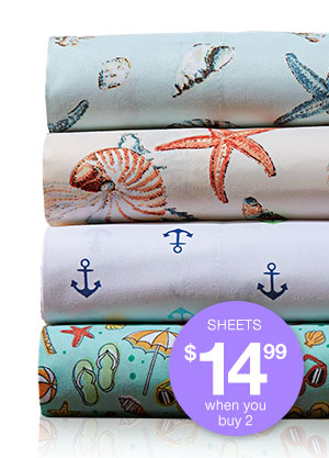 Shop Coastal Print Microfiber Sheet Set!