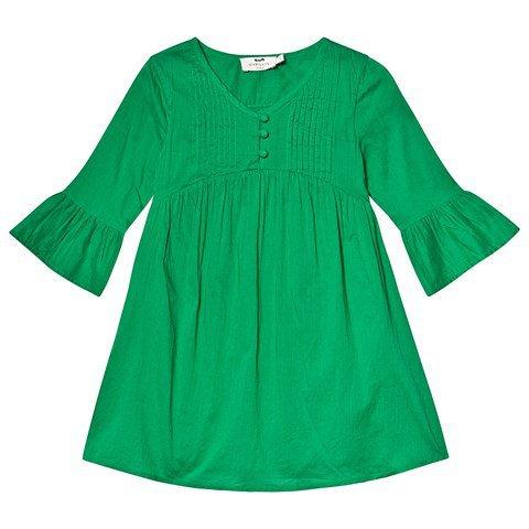 Cyrillus Green Flounce Sleeve Dress