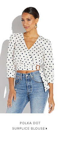 POLKA DOT SURPLICE BLOUSE