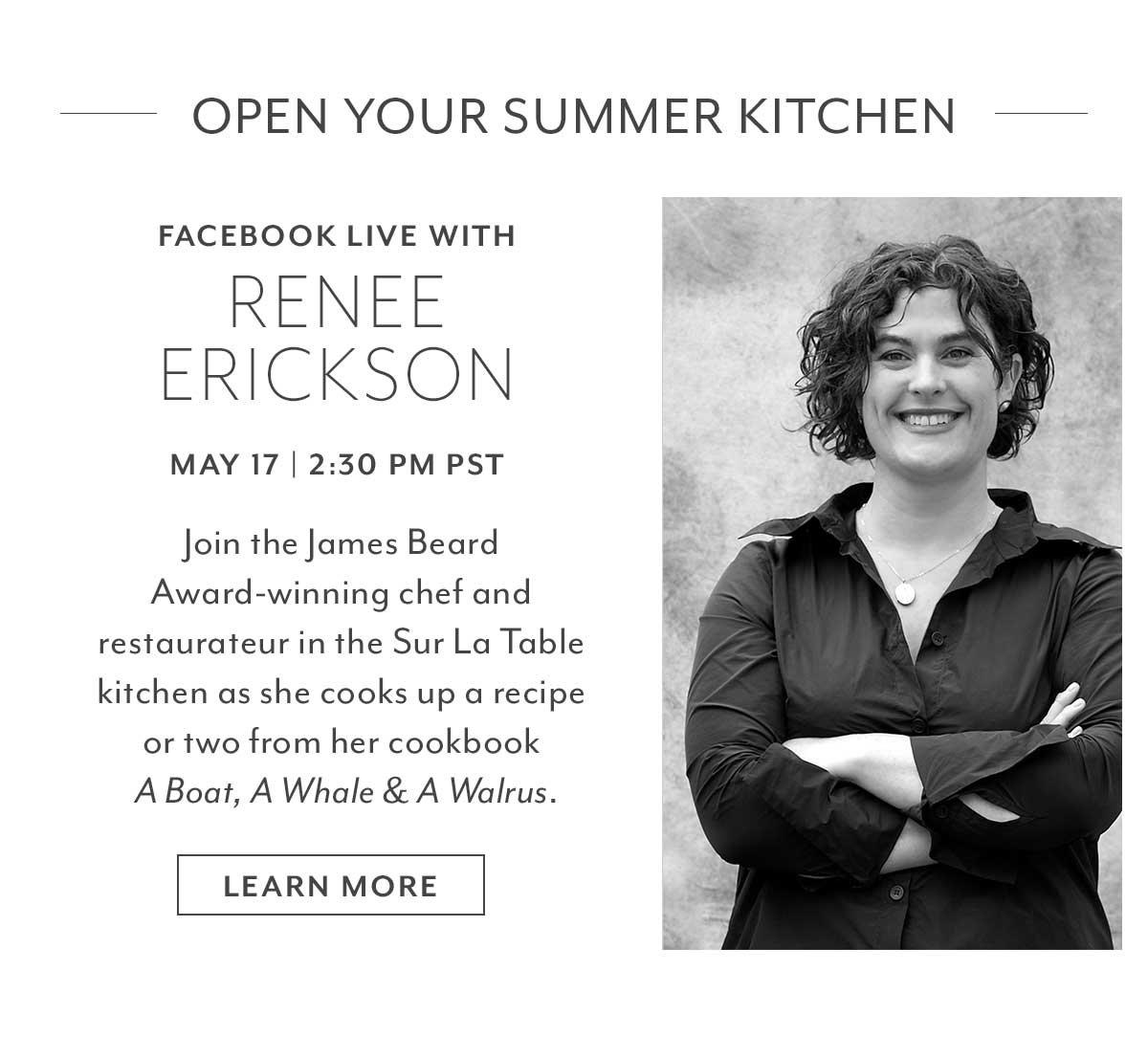 Tomorrow: Facebook Live with Renee Erickson