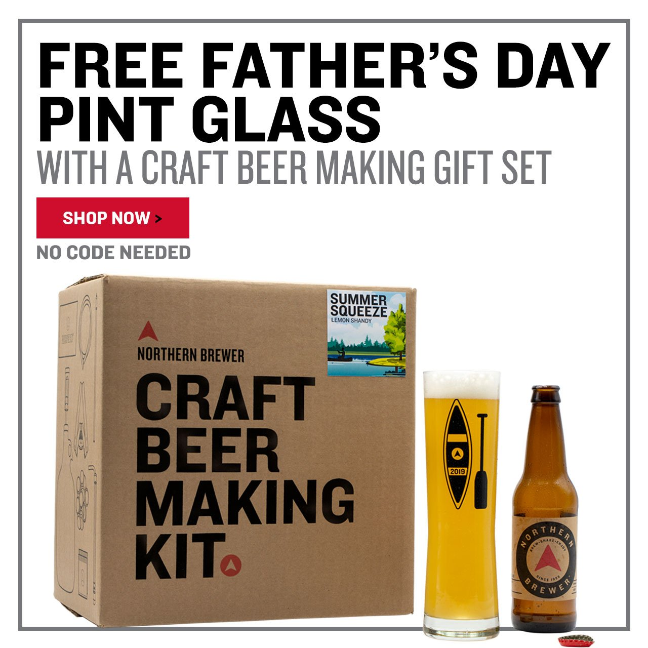 Free Father's Day Glass with a Craft Beer Making Kit. No promo code needed.