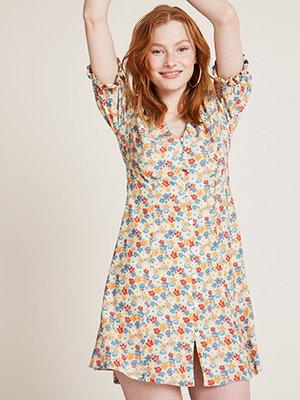 Blue Floral Giana Button Through Mini Dress