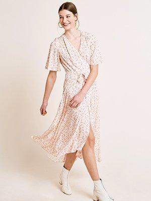 Pink Ditsy Floral Print Willow Wrap Midi Dress