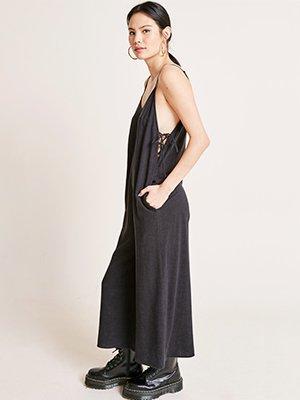 Black Jodie Linen Tie Side Jumpsuit