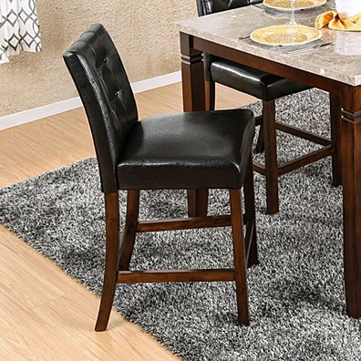 MARSTONE II Transitional Counter Height Chair, Brown Cherry & Black, Set of two