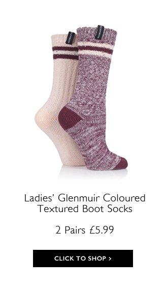 185e92cc5 Ladies 2 Pair Glenmuir Coloured Textured Boot Socks > ...