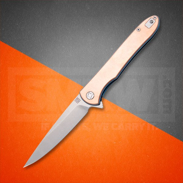 ARTISAN CUTLERY COPPER SHARK FOLDER COPPER HANDLES D2 TOOL STEEL BLADE