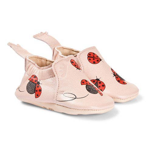Easy Peasy Pink Ladybird Print Leather Crib Shoes