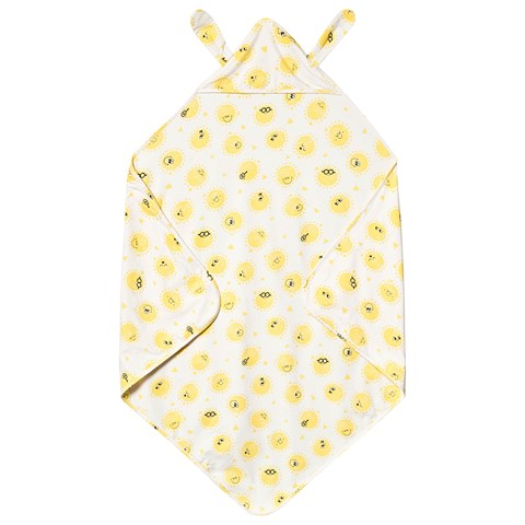 The Bonnie Mob White And Yellow Blanket With Hood And Bunny EarS