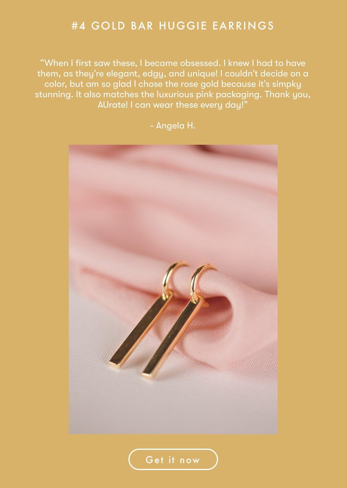Gold Bar Huggie Earrings