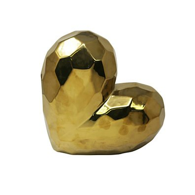 Antiqued Ceramic Heart Shaped Sculpture, Gold