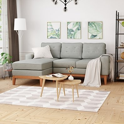 Penny Chaise Sectional Sofa Set, 2-Piece 3-Seater, Tufted, Exposed Wood, Mid-Century Modern