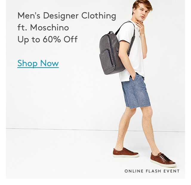 Men's Designer Clothing ft. Moschino | Up to 60% Off | Shop Now | Online Flash Event