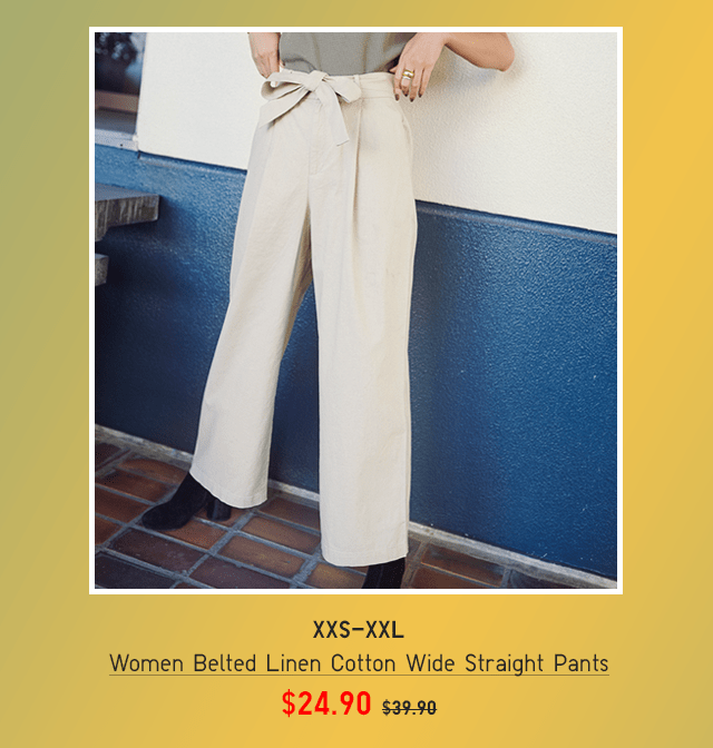 BODY3 - WOMEN BELTED LINEN COTTON WIDE STRAIGHT PANTS