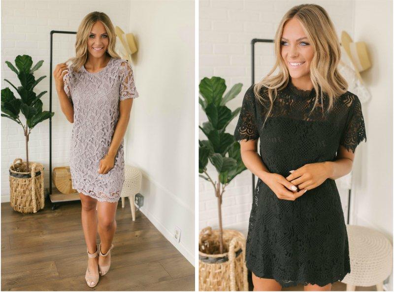 lavender and black dresses