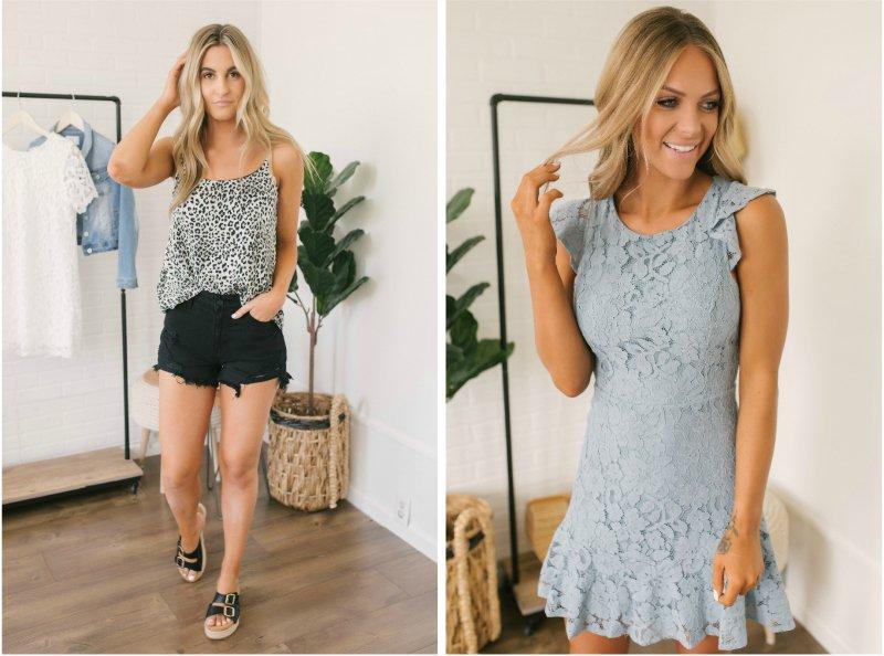 leopard print tank and blue lace dress
