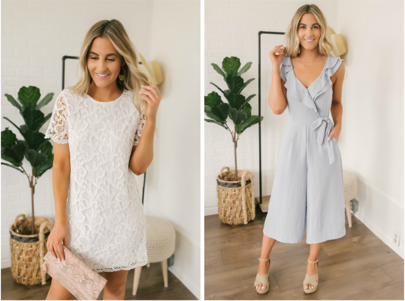 white dress and blue jumpsuit