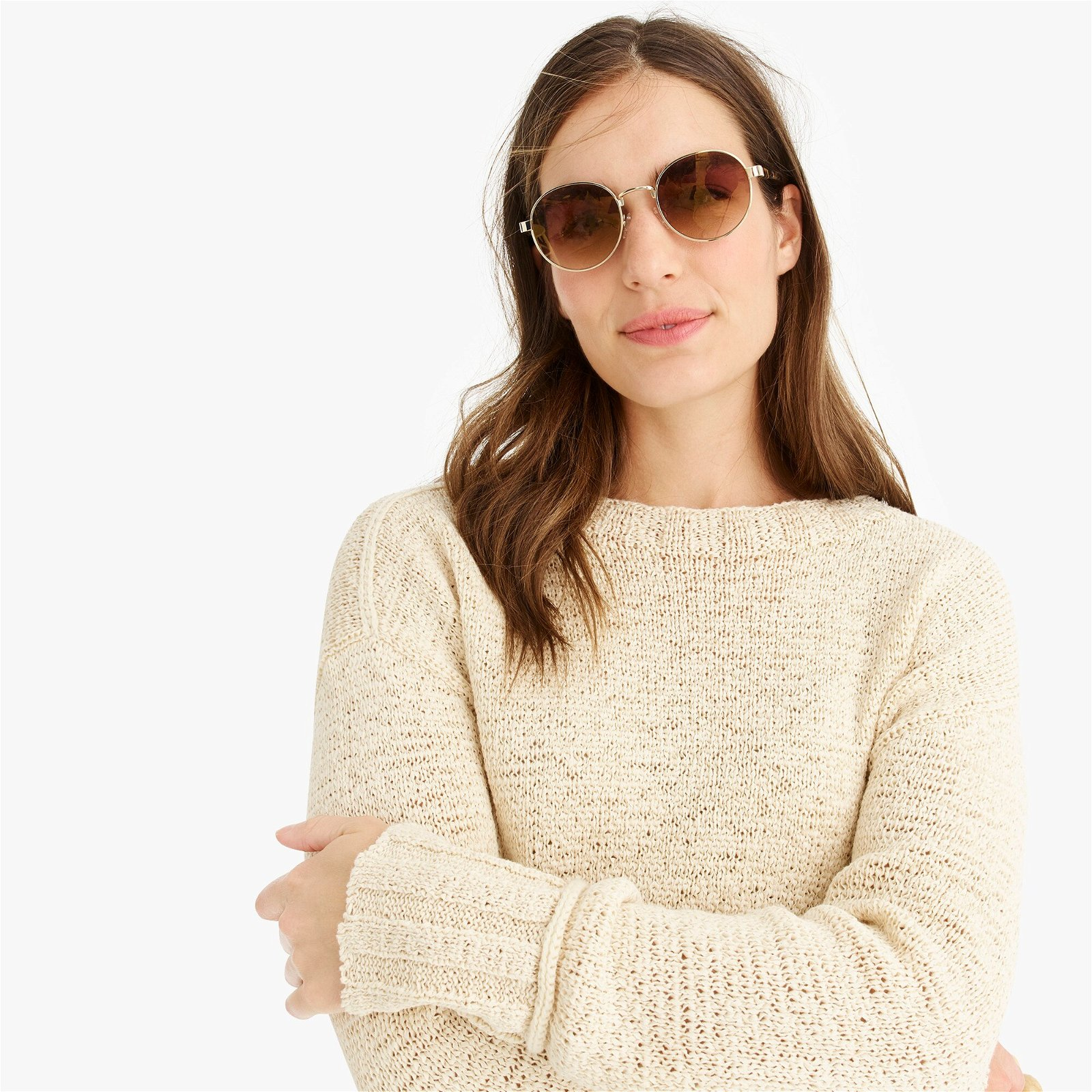 Wide-rib crewneck sweater