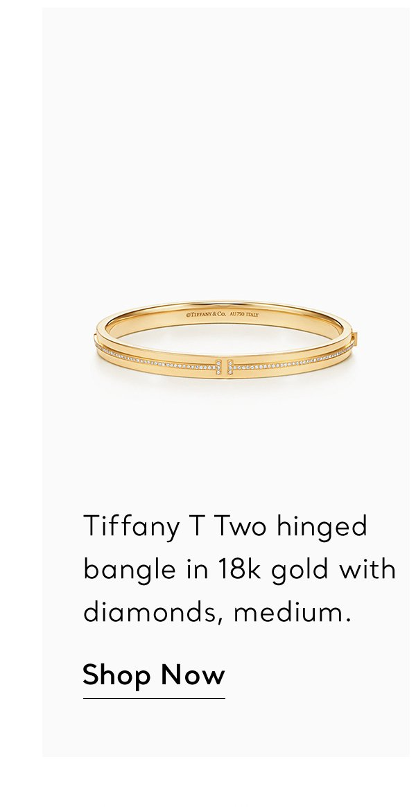 Shop Now: Gold With Diamonds Tiffany T Two Hinged Bangles