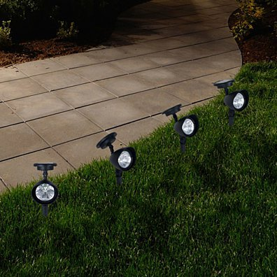 Pure Garden Outdoor Solar Yard Spot Lights - Set of 4
