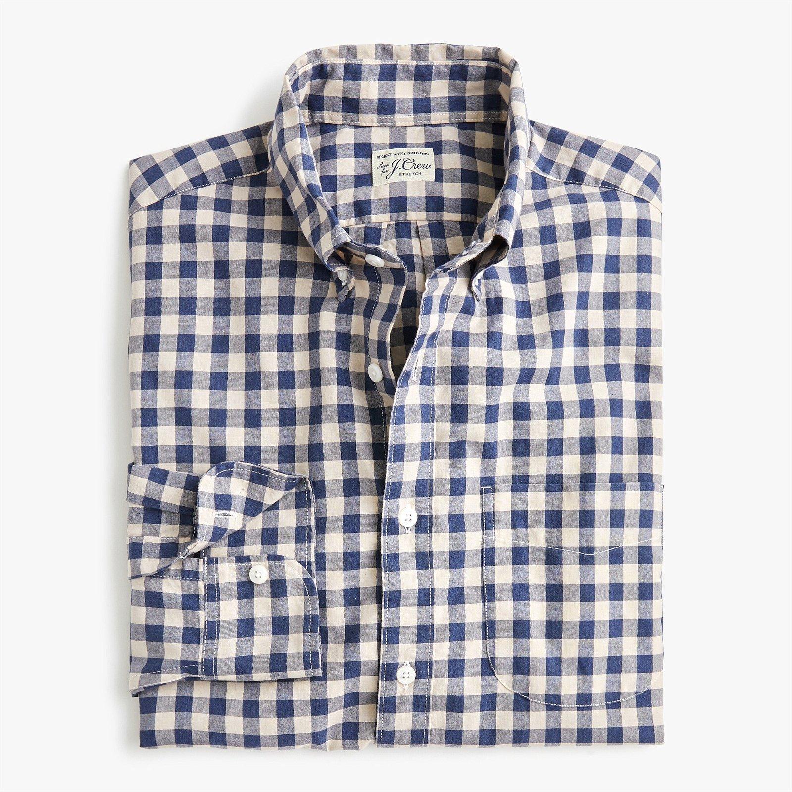 Classic Stretch Secret Wash shirt in heathered gingham