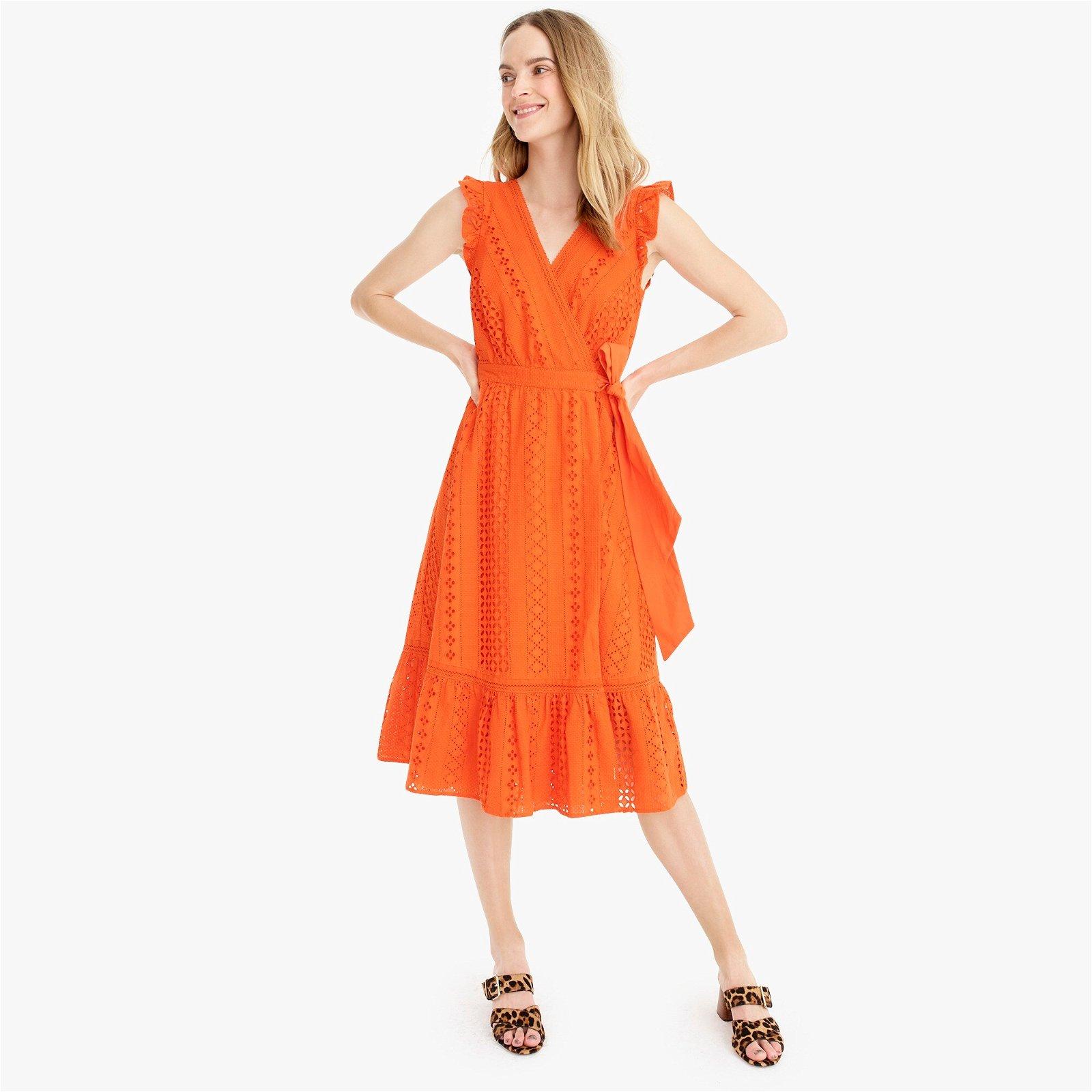 Classic Midi wrap dress in allover eyelet