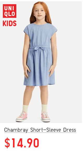 BODY2 CTA7 - GIRLS CHAMBRAY SHORT-SLEEVE DRESS