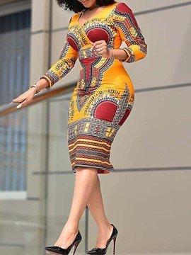 5cf217aead5 Ericdress African Fashion V-Neck Color Block Regular Bodycon Dress