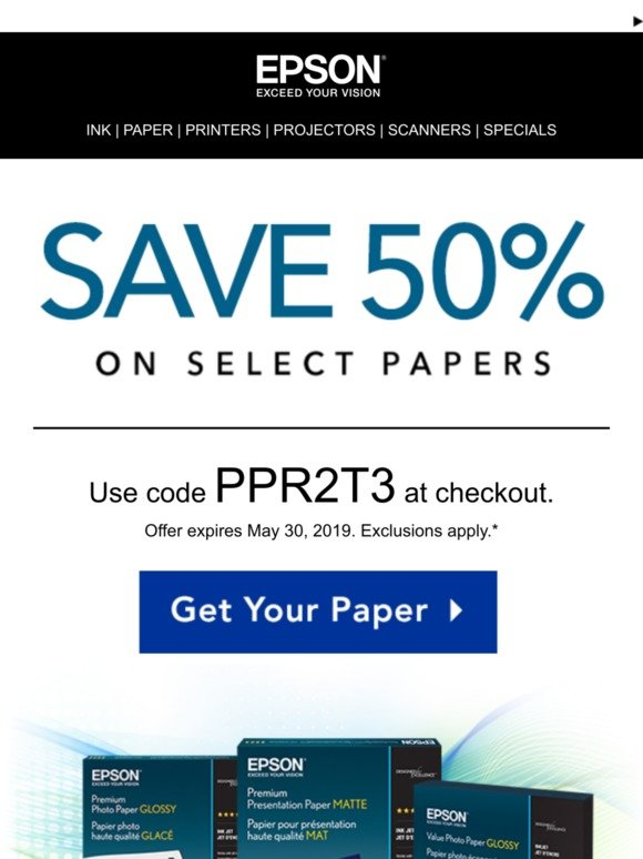 Epson: Last Days to Save 50% on Select Papers | Milled