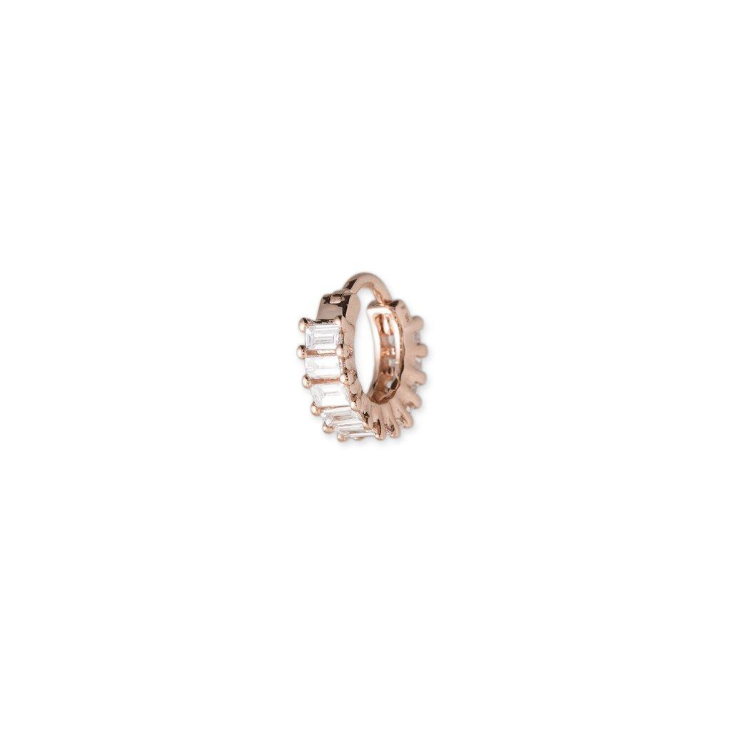 Image of FULL DIAMOND BAGUETTE MINI HOOP