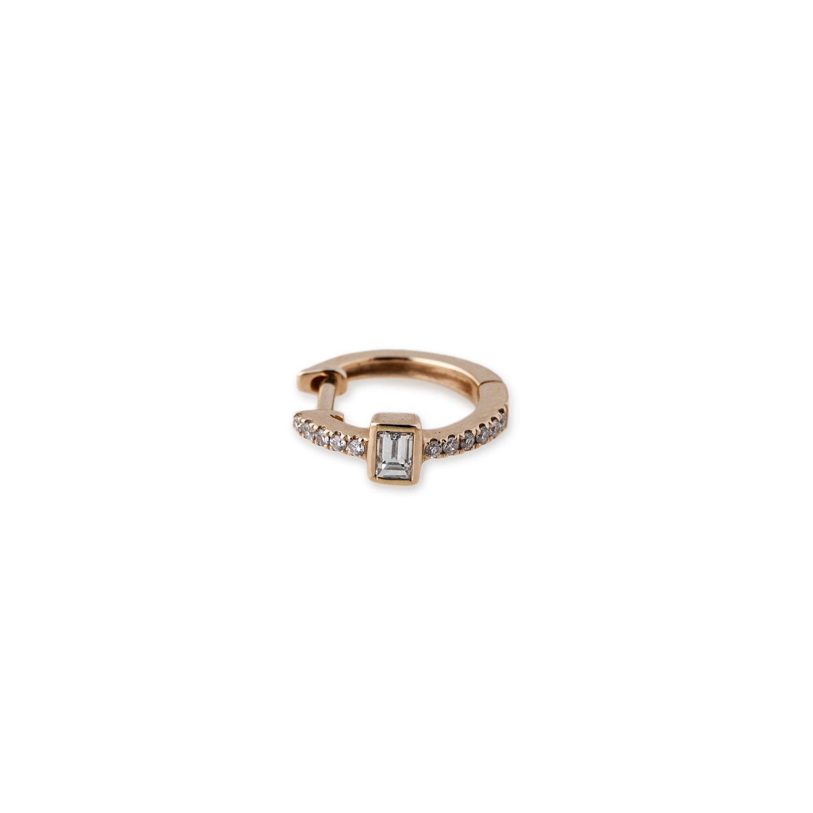 Image of Diamond Baguette Mini Hoops