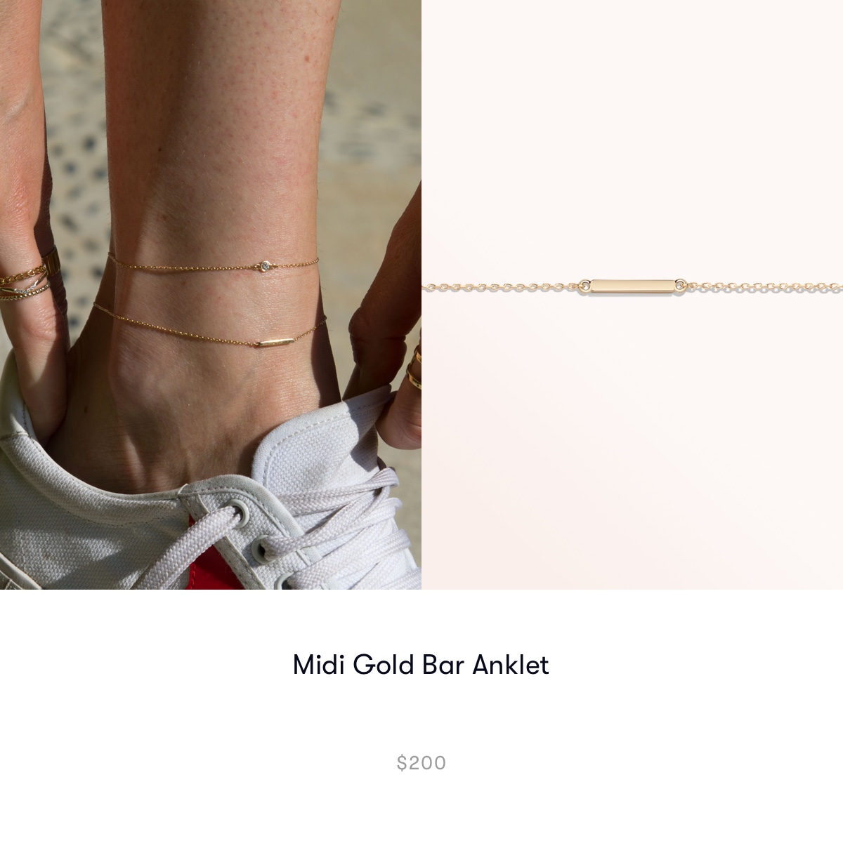 Midi Gold Bar Anklet