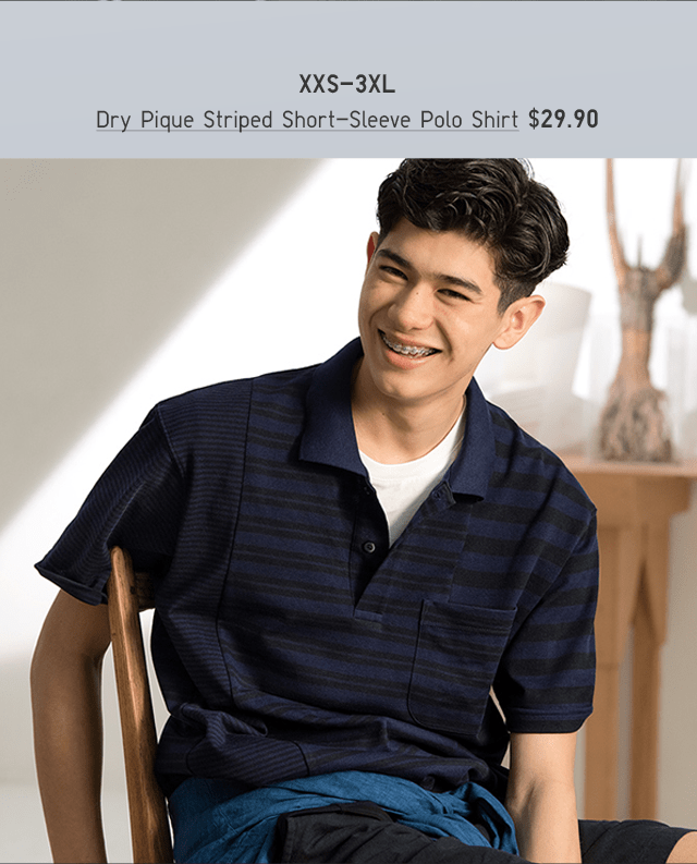 BODY3 - MEN DRY PIQUE STRIPED SHORT-SLEEVE POLO SHIRT