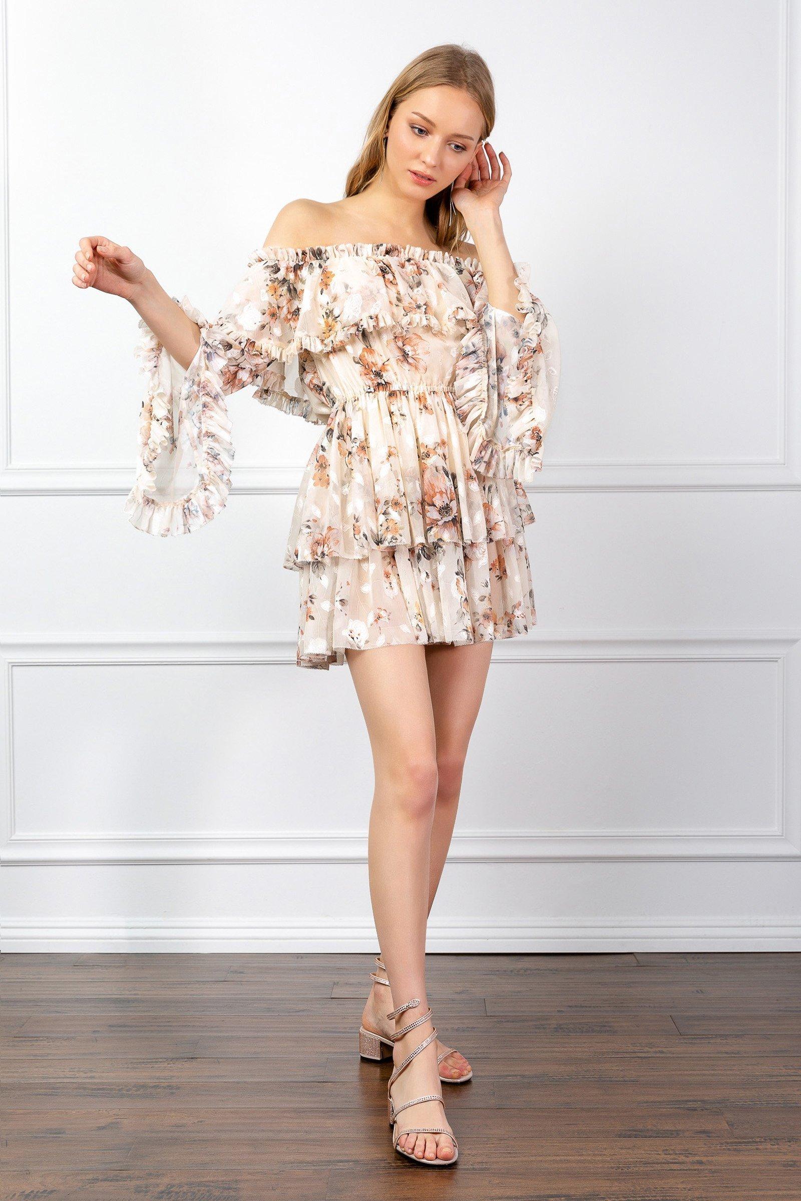 Image of DEVENDRA RUFFLE DRESS