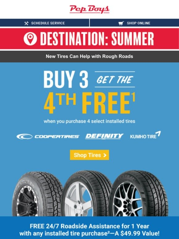 Pep Boys: 4th Tire FREE + FREE Road Assist | Milled