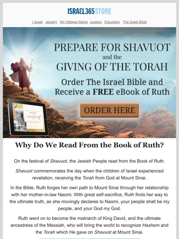 Israel365: Prepare for Shavuot, Free Ruth eBook With Purchase of The