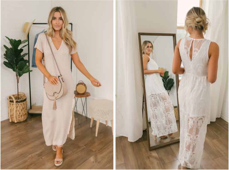 solid maxi dress and lace back